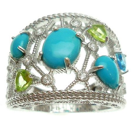 Judith Ripka Sterling Silver Open Multi-Stone Ring