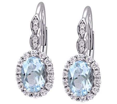 2.70 cttw Blue Topaz & White Topaz Earrings, 14K