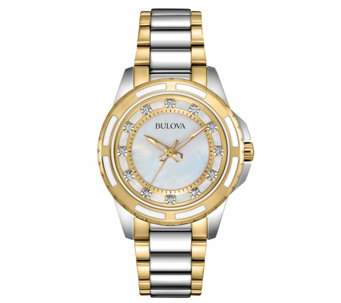 Bulova Women's Diamond Accent Two-tone BraceletWatch - J343577