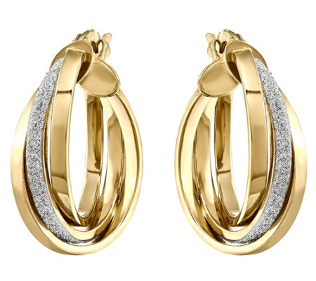 14K Gold Glitter & Polished Hinged Hoop Earrings