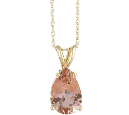 "Pear-Shaped 2.10 cttw Morganite Pendant with 18"" Chain, 14K"