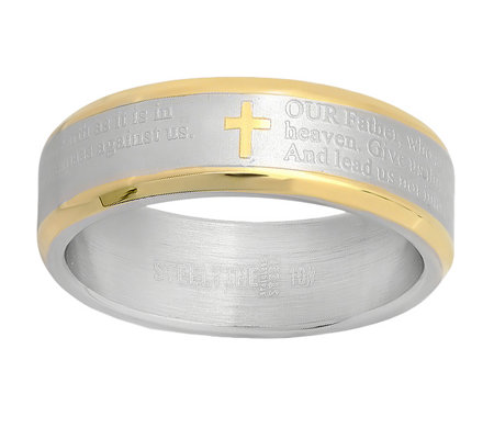 Two-tone Stainless Steel Our Father Prayer Ring