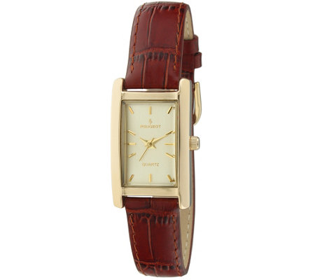Peugeot Women's Goldtone Brown Leather Watch — QVC.com