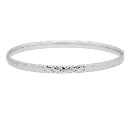 "EternaGold 7"" Argyle Pattern Bangle, 14K WhiteGold"