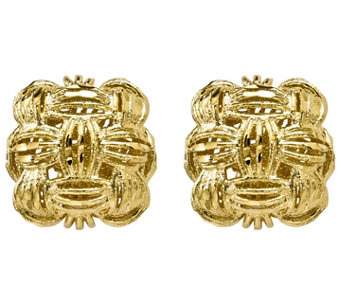 14K Gold Basket-Weave Post Earrings - J344877
