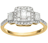"""As Is"" Emerald Cut Cluster Design Diamond Ring, 14K, 1.00 cttw, Affinity - J346577"