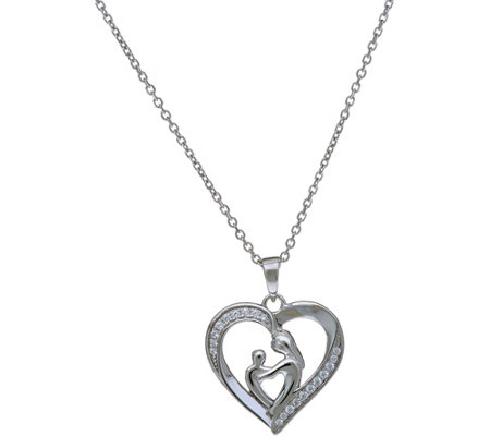 "Sterling Heart Design Mother & Child 18"" Necklace by Silver Style"