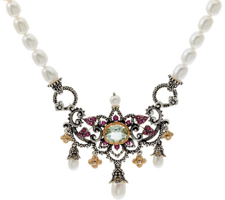 Barbara Bixby Sterling & 18K Pearl Statement Gemstone Necklace