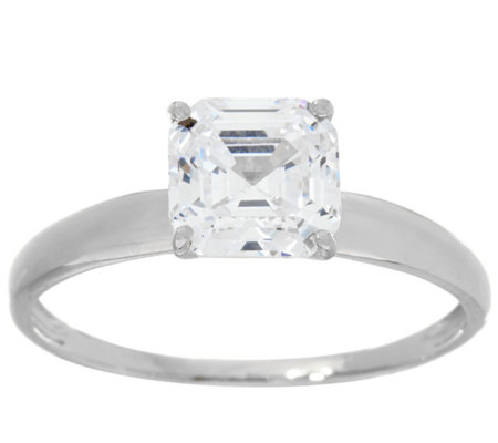 Diamonique 1.00 cttw Solitaire Ring, 14K White Gold