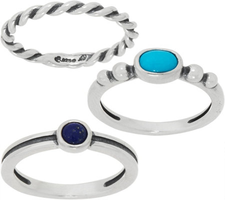 American West Gemstone Set of 3 Sterling Silver Stack Rings