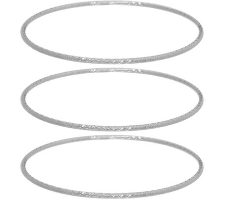 Sterling Silver Set of 3 Diamond Cut Bangles by Silver Style