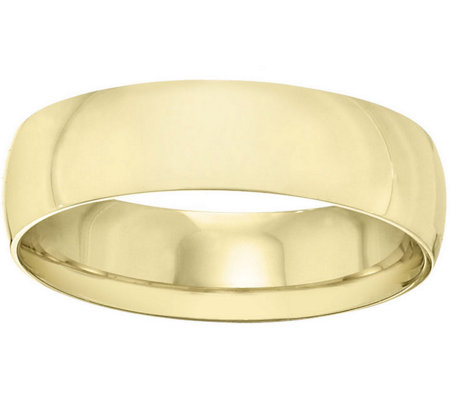 Women's 18K Yellow Gold 6mm Half-Round WeddingBand