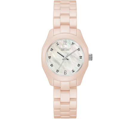 Caravelle New York Women's Pale Pink Ceramic Watch