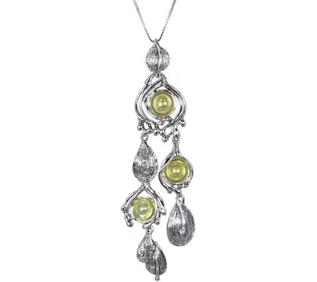 Hagit Sterling & Freshwater Green Pearls Pendant Necklace