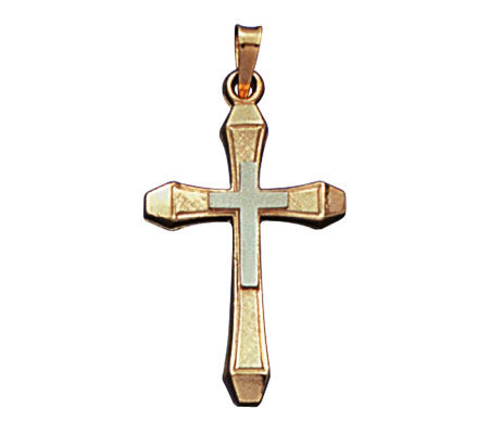 14K Yellow Gold Cross Pendant w/ 14K White GoldCenter Cross