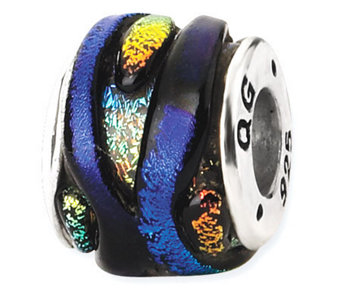Prerogatives Sterling Rainbow Dichroic Glass Striped Bead - J113378