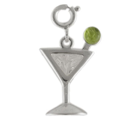 Sterling Martini Charm with Cubic Zirconia Accent and Peridot