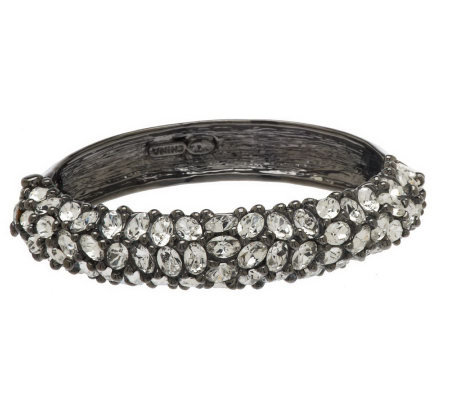 Kenneth Jay Lane's Oval Faceted Crystal Bangle Bracelet