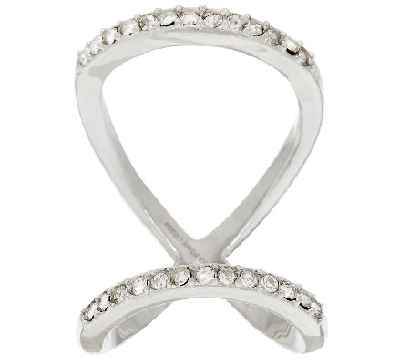 Stainless Steel Open Double Row Crystal Ring