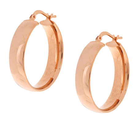 "Bronze 1-1/2"" Polished Round Hoop Earrings by Bronzo Italia"