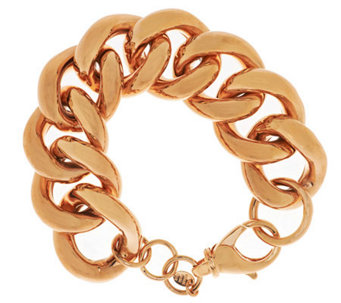 "Bronze 6-3/4"" Bold Polished Curb Link Bracelet by Bronzo Italia - J285178"