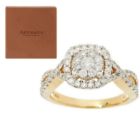 Twisted Band Cluster Halo Diamond Ring, 14K, 1.00 cttw, by Affinity