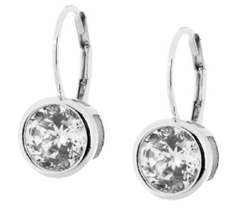 Diamonique 100 Facet Lever Back Earrings, Platinum Clad - J289778