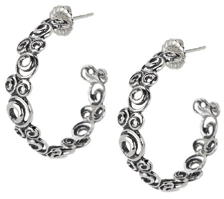 "Carolyn Pollack Sterling Swirl Design 1"" Hoop Earrings"