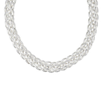 "Silver Style 19"" Orme Woven Sterling Necklace, 48.5g - J295678"