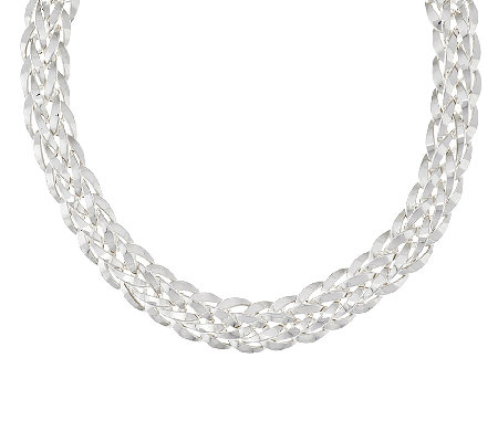 "Silver Style 19"" Orme Woven Sterling Necklace, 48.5g"