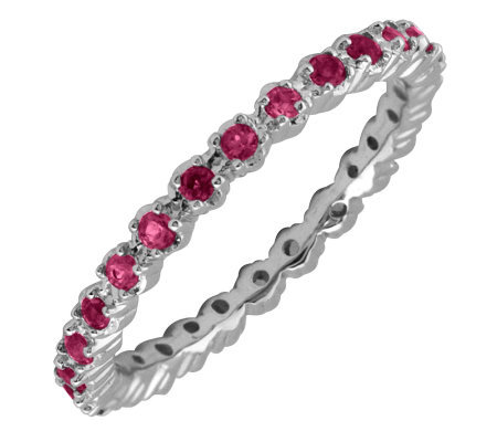 Simply Stacks Sterling Prong-Set Created Ruby Stackable Ring