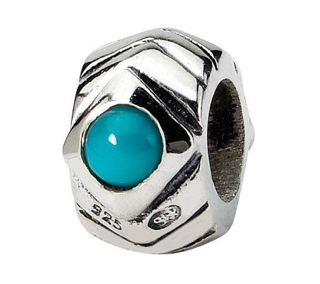 Prerogatives Sterling Turquoise Cubic ZirconiaGeometric Bead