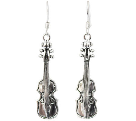 "Novica Artisan Crafted Sterling ""Violin"" DangleEarrings"