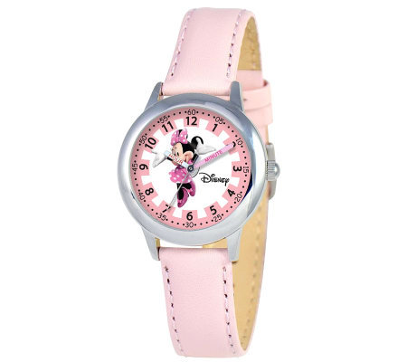 Disney Kids Minnie Mouse Pink Leather Band TimeTeacher Watch