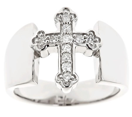Cross Diamond Ring, Sterling, 1/8cttwby Affinity