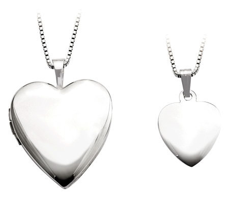 Sterling Polished & Satin Heart Locket & Child's Pendant Set
