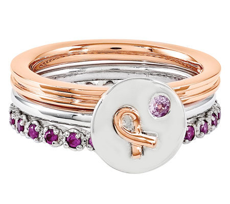 Simply Stacks Sterling Pink Awareness Ring Set