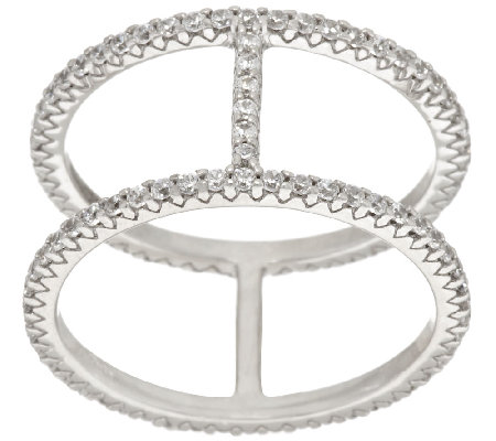 Diamonique Double Band Bar Ring, Sterling or 18K Clad