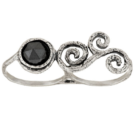 Or Paz Sterling Silver Double Finger Swirl & Faceted Hematite Ring