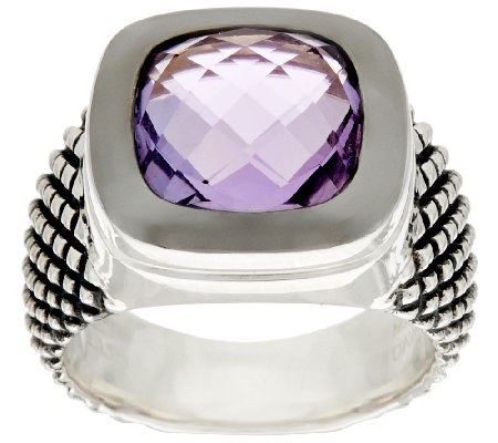 Michael Dawkins Sterling Crosshatch 3.90 ct wt Amethyst Ring
