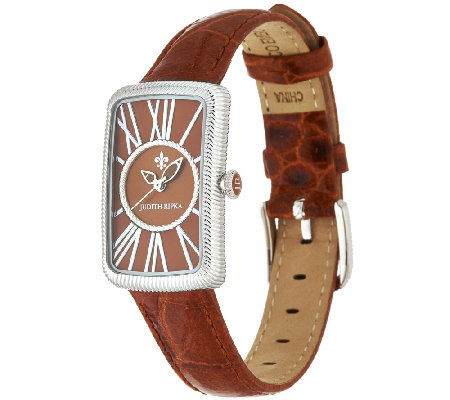 Judith Ripka Avalon Stainless Steel Croco Embossed Leather Watch