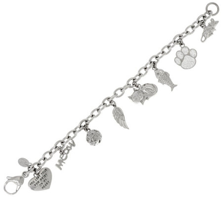 Stainless Steel Cat Motif Charm Bracelet