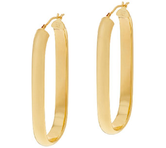"Bronze 2"" Linear Design Oval Hoop Earrings by Bronzo Italia - J323878"