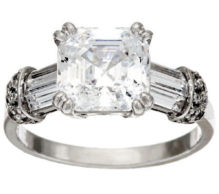 Diamonique 4.00 cttw Asscher Cut Ring, Platinum Clad