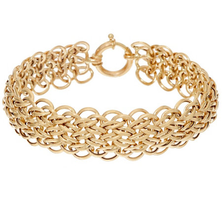 "14K Gold 7-1/4"" Domed Interlocking Link Bracelet, 9.5g"