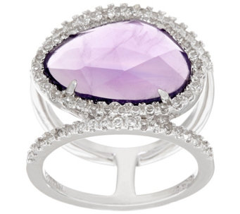 """As Is""Sterling Silver Gemstone Double Band Ring by Silver Style - J325278"