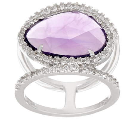 """As Is""Sterling Silver Gemstone Double Band Ring by Silver Style"