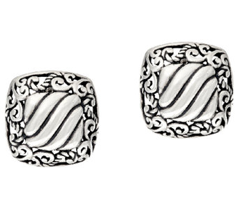 Carolyn Pollack Sterling Silver Signature Button Earrings - J325578