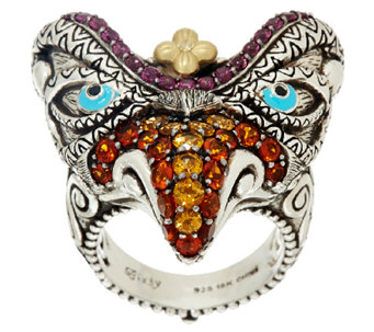 Barbara Bixby Sterling & 18K Multi-Gemstone Garuda Bird Ring - J326178