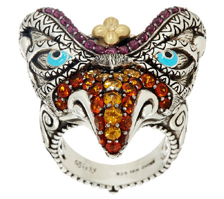 Barbara Bixby Sterling & 18K Multi-Gemstone Garuda Bird Ring